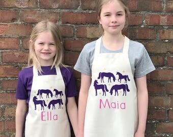 Personalised UnicornApron, Kids Cooking Apron, unicorn gift, girls birthday gift, boys birthday gift, toddler apron, unicorn party