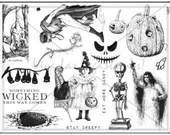 unmounted rubber stamp Halloween skeleton pumpkin quote  witch wicca brain broom poison tarot   tateam EUC team   no. 1492
