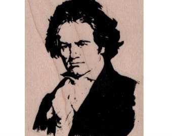 Rubber stamp  Beethoven  stamps supplies composer classical music piano  scrapbooking supplies number 19771