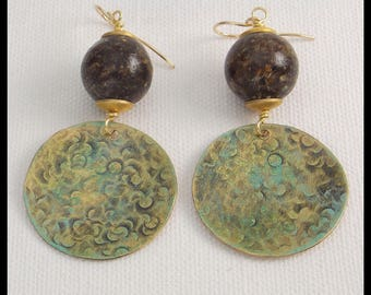 RAW AMBER - Handforged Hammered Patinated Bronze and Raw Amber Earrings