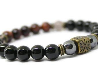 Unisex gemstone Stretch Bracelet / Red Tigers Eye, Black Onyx, Smokey Quartz, Hematite, Bronze, Copper, spiritual healing,Holistic Healing