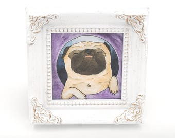 Mini Pug Art Gift, Pug Lover, Tiny Painting, Funny Animal Art, Small Art, Pug Dog Decor, Gifts for Friends, Gifts for Him, Dog Lover Gift