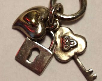 Vintage Sterling Silver 14K Gold Diamond Mixed Metal Pendant Key Lock Heart Steampunk Boho Charm Holder