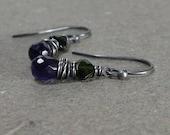 Amethyst, Green Tourmaline Earrings Petite Small Wire Wrapped Oxidized Sterling Silver Earrings