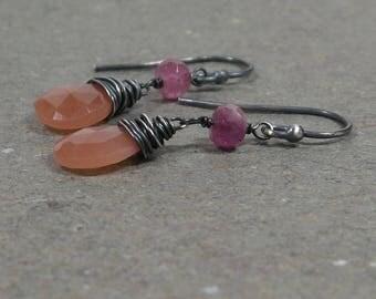 Peach Moonstone Earrings Pink Tourmaline Dangle Oxidized Sterling Silver Earrings Gift for Her