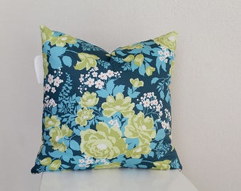 """Couch throw pillow Cover, Invisible zipper, closure, Floral Twill. 18"""" square, Home decor, cushion, Floral blue green, joel dewberry fabric"""
