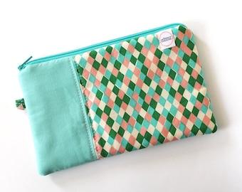 zipper pouch, cash envelope, Eyeglasses case, Pen pencil case, cash wallet, bag for mom, Cosmetic makeup case, journal supplies bag, teal