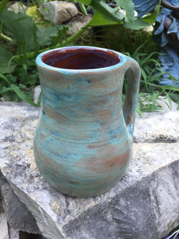 giant big huge satin turquoise blue and brown mug