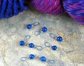 Turquoise Fossil Beads Stitch Markers On Crater Lake Blue Wire - US 5 - Item No. 558