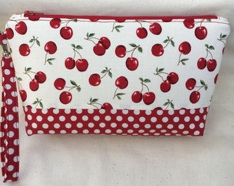 Red Cherries and Polka Dot Wristlet