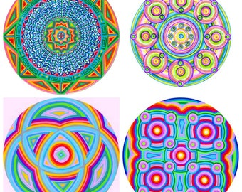 "Choose any 4 (small 3"" size) Cosmic Circles, Ecofriendly, Better than Stickers, Sacred Geometry, Boho, Home, Mandala, Rainbow, Colors, Art"