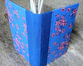 SALE + Free Shipping -- Handbound Journal, blue with red flowers