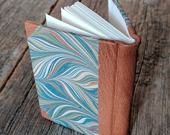 Little handbound journal, classic half leather binding with original marbled papers