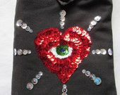 Handmade purse / shoulder bag  with sequin heart and eye  OOAK *twilightdance