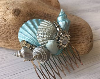 Beach Wedding No 22 - hand painted aqua seashell and vintage jewel assemblage, beach wedding headpiece