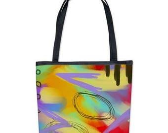 Funky Abstract Art Purse Handbag Shoulder Bag My Colorful Abstract Digital Painting