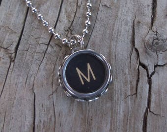 Letter M Typewriter Key Necklace, New Mom Pendant, Mommy, Grandma Gift Idea