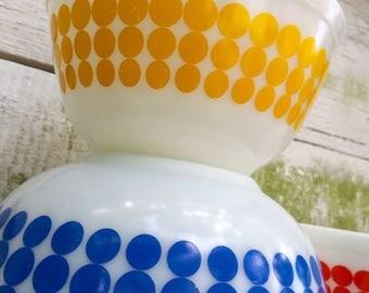 Pyrex Polka Dot Bowls Set of 3 Vintage