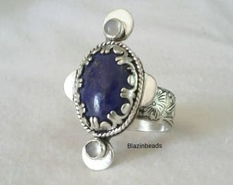 Lapis Ring-Lapis Moonstone Sterling Silver Ring-Big Statement Ring-Blue Gemstone Ring With Flowered Patterned Band