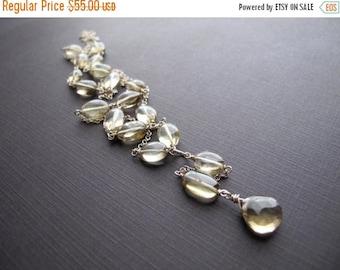 ON SALE Lemon Quartz Necklace, Yellow Gemstone Layering Necklace