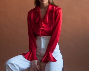 silk charmeuse red ruffle collar blouse / romantic blouse / ruffle cuff poet blouse / s / 6 P / 2611t / B18