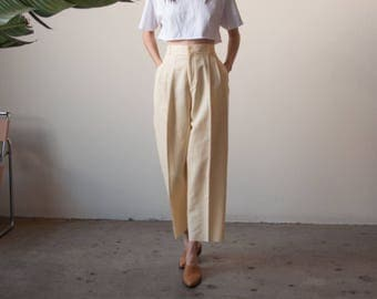pale yellow linen pleated cropped pants / wide leg baggy pants / high waist linen pants / 32 W / 2665t / B15