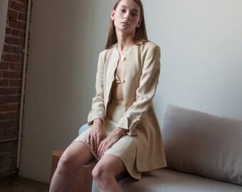 GIORGIO ARMANI floral print skirt suit / pencil skirt suit / long blazer / US 6 / 2360o