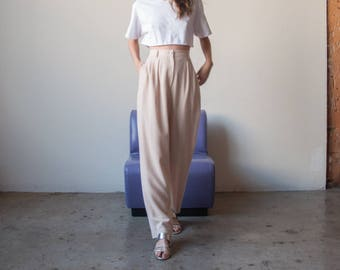 DEADSTOCK pale pink wool trousers / pleated high rise pants / US 8 / 2817t