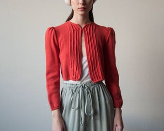 orange knit puff sleeve sweater / cropped cardigan sweater / wool knit ribbed sweater / s / 3125t / B21
