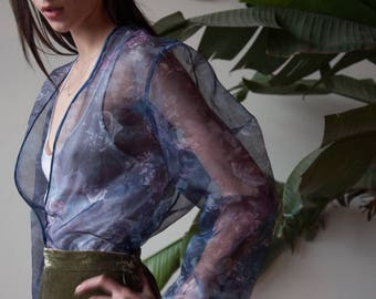 purple sheer floral organza cardigan / sheer floral blouse / sheer print shirt / s / m / 3160t / B18