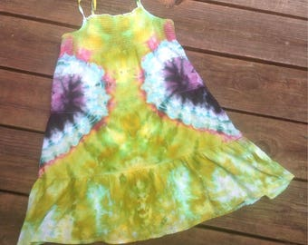 Girls size M tie die dress heart sundress