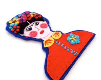HALF PRICE Summer Sale FRIDA Kahlo Brooch - Felt brooch pin with hand embroidery