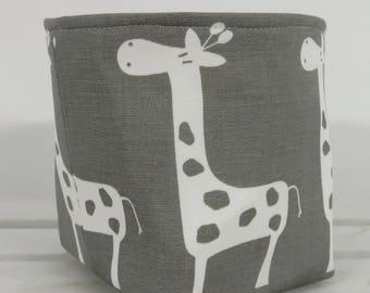 Giraffe Fabric - Storage and Organization - Mini Fabric Storage Container Organizer Bin - Choose Outside and Inside/ Lining Fabrics