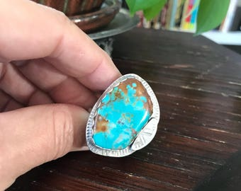 Large Fox mine Turquoise and Sterling Statement Tribal Style Ring