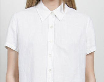 SALE - White Linen Button Down