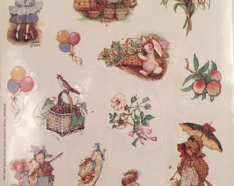Holly Hobbie, TCFC, 1980s, Vintage, American Greetings, Single Sticker Sheet, Scrap Booking, Sticker Collecting, Craft ~ SS002