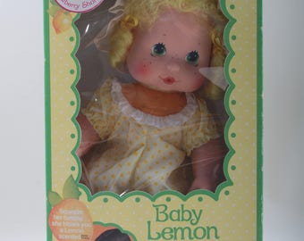 Kenner, Baby Lemon Meringue, Doll, Vintage, Strawberry Shortcake, Scented Kiss, Yellow Dress, Green Eyes, In a Box ~ The Pink Room ~ 170414