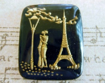 SALE 15% off PRICE REDUCTION  Vintage glass French lover Wedding intaglio black gold reverse carved painted crystal cameo cab Eifel Tower pa