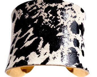 Black and Ivory Speckled Leather Cuff Bracelet - by UNEARTHED