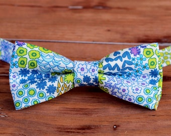 Boys wedding bow tie, floral bow tie, summer bow tie, ring bearer bow tie, newborn boy bow ties, trendy baby boy gift, cotton bowtie, flower