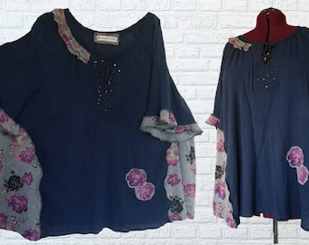 4X Floral Ruffled Shirt Eco Friendly Plus Recycled Fashion Gray Purple Navy Blue