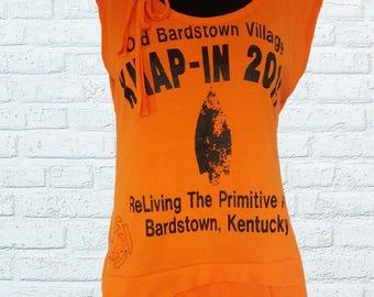 Shirt Reconstruction Sz. M Bright Neon Orange Black Primitive Arts History Medium Womens Clothing Summer Top Tank Rose