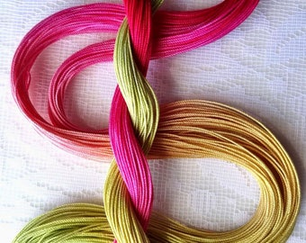 "Size 10 ""Rhubarb Pie"" hand dyed thread 6 cord cordonnet tatting crochet cotton"