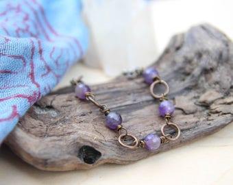peace . five deep breaths amethyst bracelet