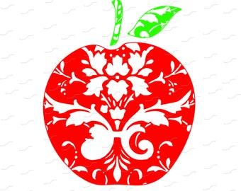 Digital Cut File - Apple Filigree, Secretary, Appreciation, School, Vinyl Cutting File, SVG, DXF, EPS, Silhouette, Sure Cuts a Lot, Cricut