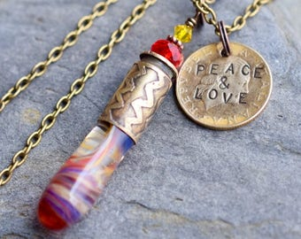Glass Bullet Casing Necklace Boro Lampwork Brass Pendant Jewelry Red Stamped Coin - Peace and Love