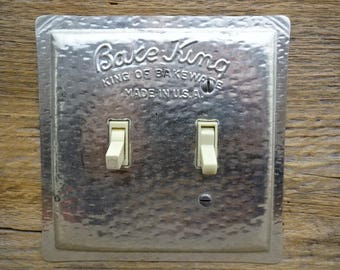 Lightswitch Cover Switch Plate Vintage Kitchen Bake King Baking Pan Lighting Stainless Steel Decor Made From Old Pans SP-0236