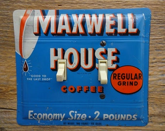Antique Lighting Kitchen Switch Plate Cover Made From Vintage Maxwell House Coffee Tin Blue SP-0019