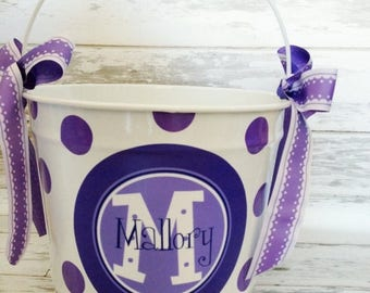 ON SALE Personalized pail with purple and lavender design - home decor bucket - decorative pail - 10 quart bucket - monogrammed pail for kid