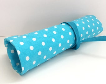 7 slots Turquoise Polka Dots Makeup Brush/ Clay Tool Roll